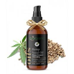 Biorganic - Έλαιο Σπόρων Κάνναβης, Βιολογικής Καλλιέργειας / Hemp Seed Oil, Organic Cold Pressed 100ml Ιδανικό για Πρόσωπο, Σώμα & Μαλλιά