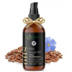 Biorganic - Έλαιο Λιναρόσπορου / Flax Seed Oil, βιολογικής Καλλιέργειας 100ml Πλούσιο σε βιταμίνες και κατάλληλο για Πρόσωπο, Σώμα και Μαλλιά