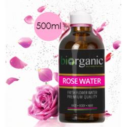 Biorganic - Εξαιρετικό Ροδόνερο σπο φρεσκοκομμένα τριαντάφυλλα ! Επαγγελματική Συσκευασία 500ml Διπλής Απόσταξης, Βιολογικής Καλλιέργειας