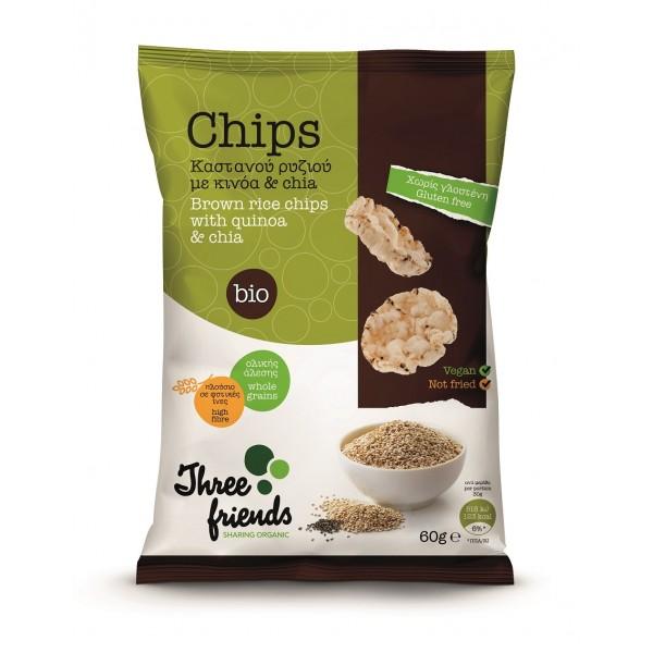 Chips Γκοφρέτας Καστανού Ρυζιού με κινόα και chia 60gr bio