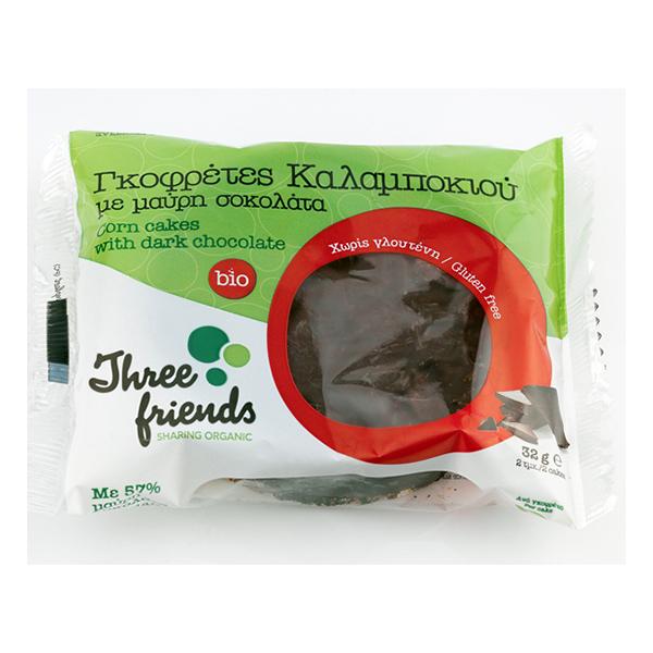 Γκοφρέτες Καλαμποκιού με μαύρη σοκολάτα, χωρίς γλουτένη 32gr bio
