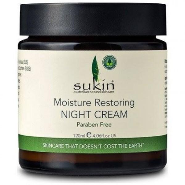 Sukin - Επανορθωτική Κρέμα Νυκτός με Αγριοτριανταφυλλιά / Moisture Restoring Night Cream 120ml Ενισχυμένη σύνθεση που βοηθά στη σύσφιξη και την ελαστικότητα του προσώπου! Πλούσια σε έλαια Άγριου Τριαντάφυλλου